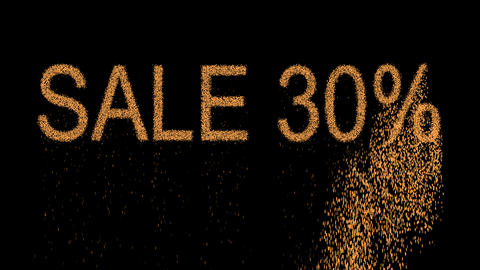 sale tag SALE 30% appears from the sand, then crumbles. Alpha channel Animation