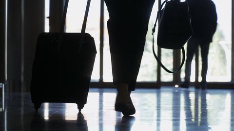 Silhouette of businesswoman with suitcase Footage