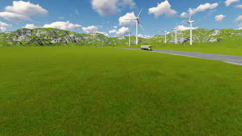 Road with car truck lorries moving both directions and wind turbine Footage