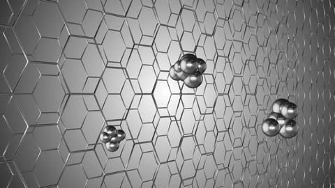 animation of the graphene structure. Two rows of reflective silver carbon atoms Footage