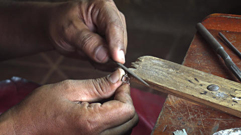 Talented Local Artisan Making Jewelry in Sri Lanka Live Action