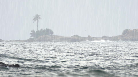 Heavy Tropical Rain over Tropical Beach Paradise in Hikkaduwa Live Action