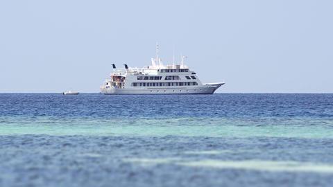 Large Passenger Yacht Anchored off Maafushi Island. Maldives Footage