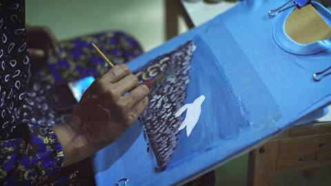 Local Artisan Hand Painting Scenes on Tee Shirts in the Maldives Live Action