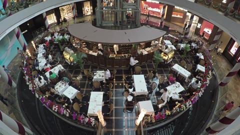 Stylish vintage restaurant inside the Marina Bay Sands. Singapore Footage