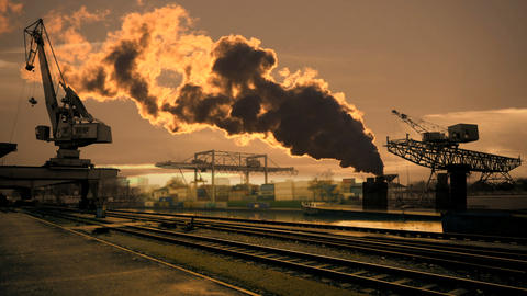 Industrial background smog pollution Live Action