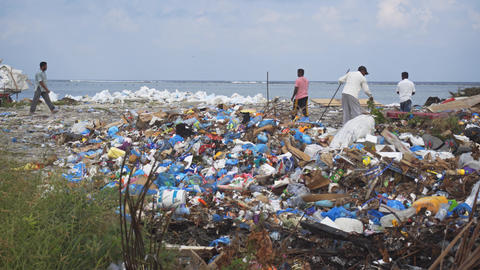 Local laborers sorting rubbish at a seaside dumping site on Maafushi Island Footage