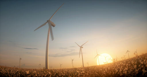 Eco wind energy windmill farm turbines among flowers in sunset light Image