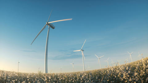 Wind energy power farm turbines landscape view among flowers Image