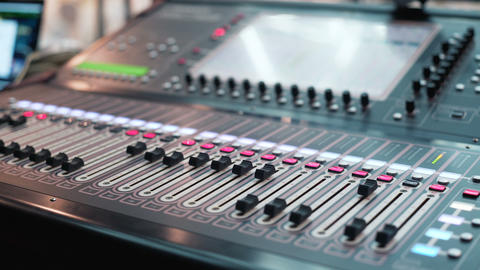 Audio Mixer in a Studio the Automatic Soundboard knobs Moving Footage