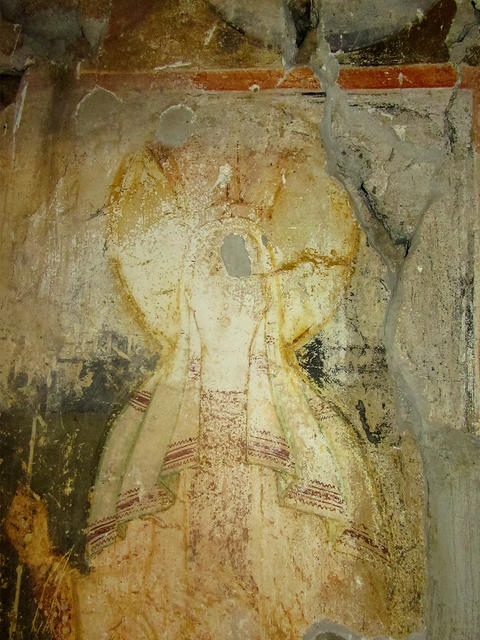Female figure. Fresco of the Medieval Orthodox Church, Bulgaria フォト