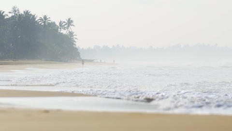 Foggy Day on a Popular Sri Lankan Beach. UltraHD footage Footage