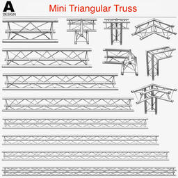 Mini Triangular Truss (Collection 14 Modular Pieces) 3Dモデル