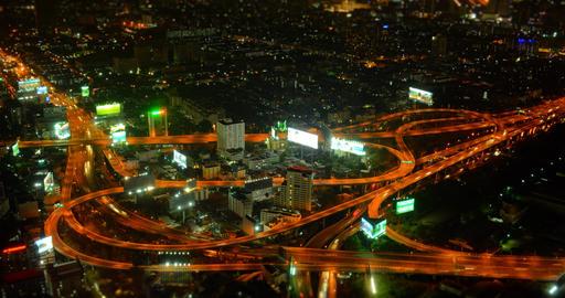 Timelapse abstract of Bangkok Highway Interchange at Night Footage