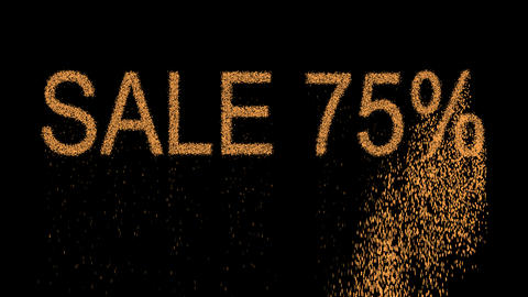 sale tag SALE 75% appears from the sand, then crumbles. Alpha channel Animation
