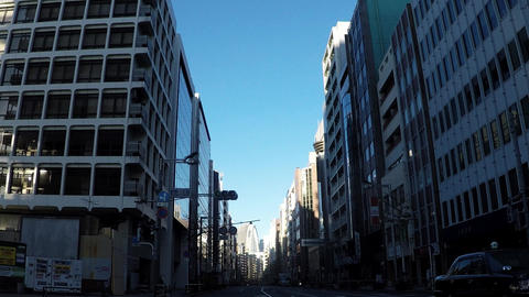 Japanese cityscape. Shinjuku street car window in the early morning Footage