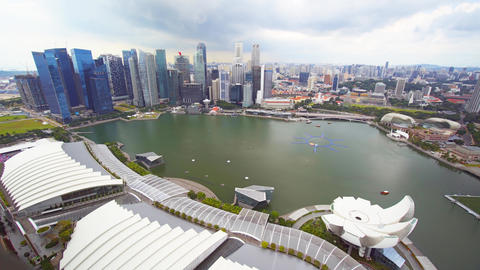 Singapore's Urban Skyline from atop Marina Bay Sands Observation Deck Live Action
