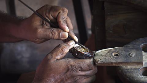Local Artisan Crafting Jewelry by Hand in Sri Lanka Live Action
