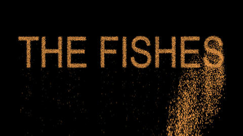 constellation of a THE FISHES appears from the sand, then crumbles. Alpha Animation