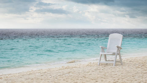 Plastic Deck Chair offers Relaxation on Maldives Beach Paradise Live Action