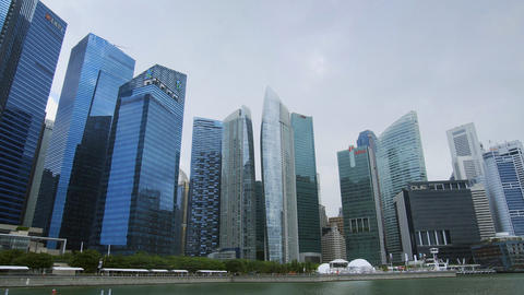 Modern. highrise architecture of Singapore's skyline on a cloudy day Footage