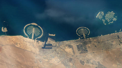 Dubai City (Uae) From Space. Elements Of This Image Furnished By Nasa Live Action