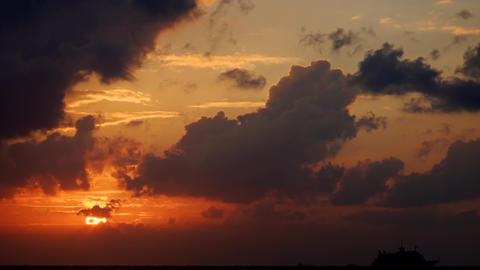 Romantic Sunset with Colorful Clouds. in Timelapse Footage