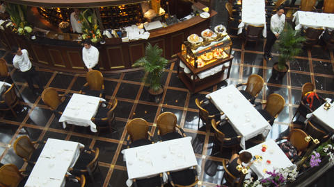 Overlooking view of fine dining inside the Shoppes at Marina Bay Sands Footage