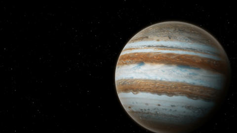 Realistic planet Jupiter with Europa from deep space Animation
