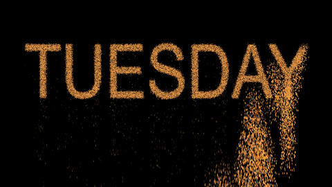 day of the week TUESDAY appears from the sand, then crumbles. Alpha channel Animation