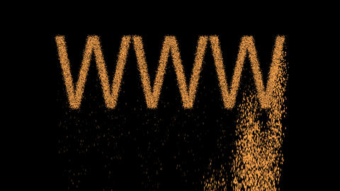 text WWW appears from the sand, then crumbles. Alpha channel Premultiplied - Animation