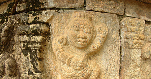 Closeup of Relief Sculpture at Ancient Palace Ruins in Polonnaruwa Live Action