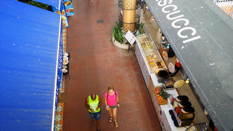 Customers walking amongst restaurants - Like surveillance camera Footage
