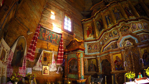 Old wooden Orthodox Church interior. Pirogovo museum Footage