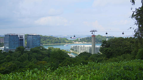Suspended Cable Cars over Telok Blangah Hill Park. Singapore Footage