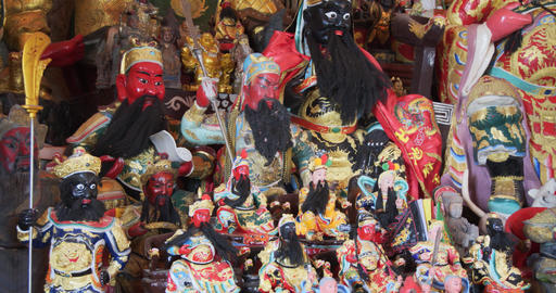 Pantheon of Chinese Deities in a Phuket Temple. 4k DCI footage Live Action
