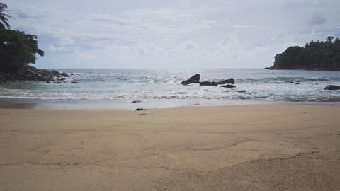 Gentle Waves on a Pristine Tropical Beach in Thailand Footage