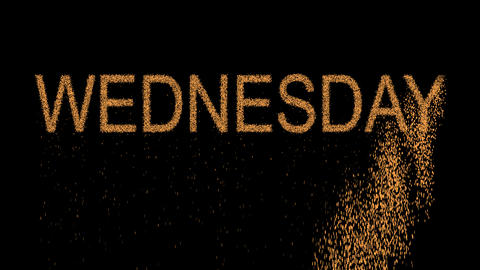 day of the week WEDNESDAY appears from the sand, then crumbles. Alpha channel Animation