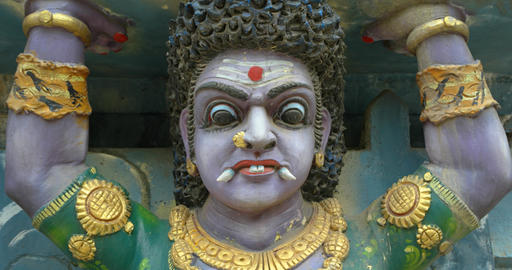 Fierce Sculpture of Hindu Goddess inside Temple in Sri Lanka Live Action