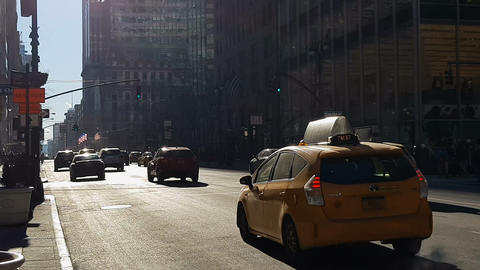 New York City yellow taxis at nyc center Footage