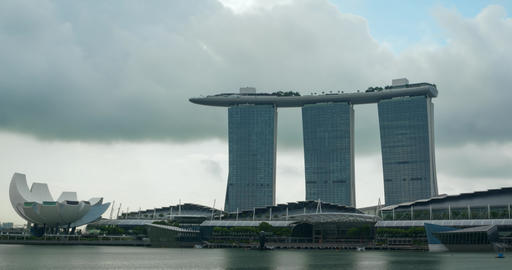 Timelapse clip of clouds drifting behind the Marina Bay Sands in Singapore Footage