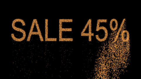 sale tag SALE 45% appears from the sand, then crumbles. Alpha channel Animation