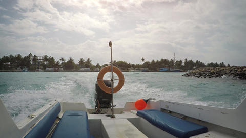 View from the swinging motor boat. Maldives Live Action