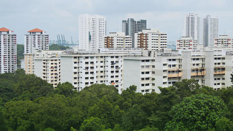 Urban Residential Towers in Singapore. FullHD footage Footage