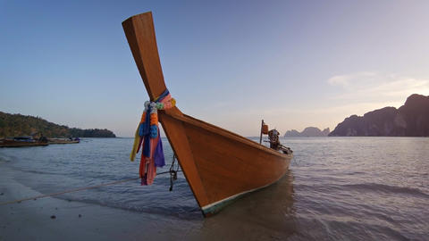 Traditional wooden Thai boat Footage