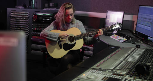Songwriter in a music recording studio Live Action