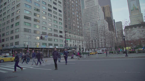 People and cars square 5th Avenue NYC Footage