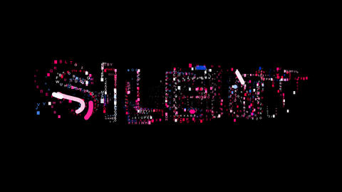 Letters are collected in text SILENT, then scattered into strips. Bright colors Animation