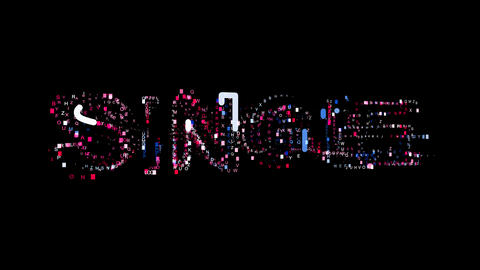 Letters are collected in text SINGLE, then scattered into strips. Bright colors Animation