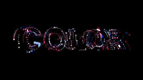 Letters are collected in text COLOR, then scattered into strips. Bright colors Animation